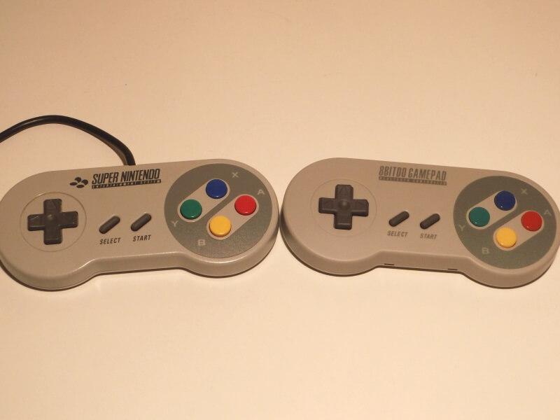snes-controller-vs-8bitdo-controller-front